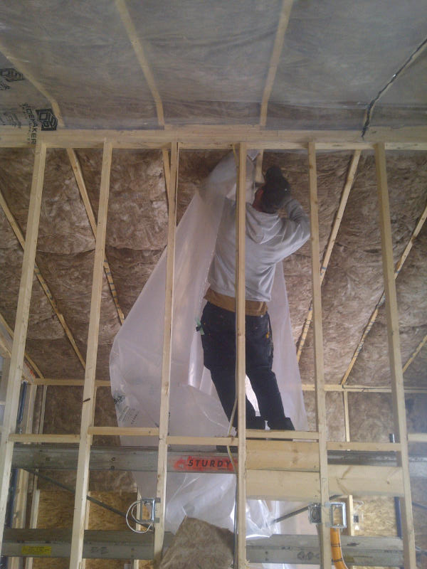 installing poly over ceiling batts
