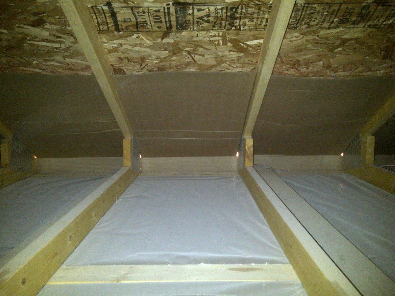 attic, cardboard stops, poly vapor barrier