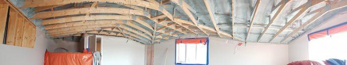 2lb spray foam vaulted ceiling application