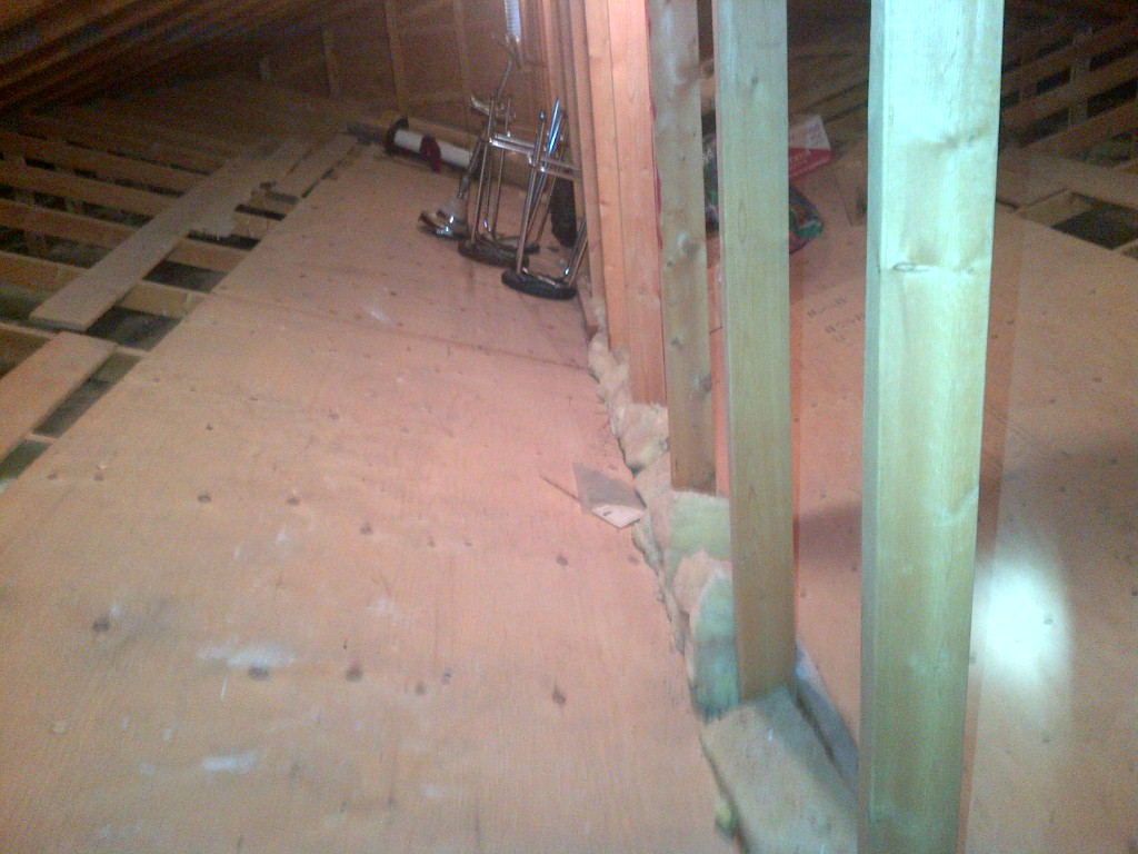 attic insulation blocked by plywood sheathing
