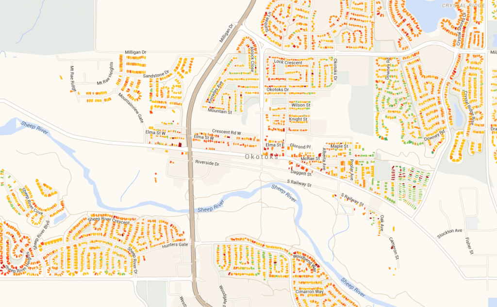 Map of Okotoks where My Heat has currently scanned