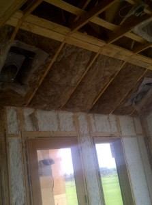 fiberglass batts installed above JM Spider