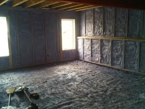 2 pound spray foam insulation walls & floor 2