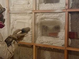 spray foam installed in small wall cavities