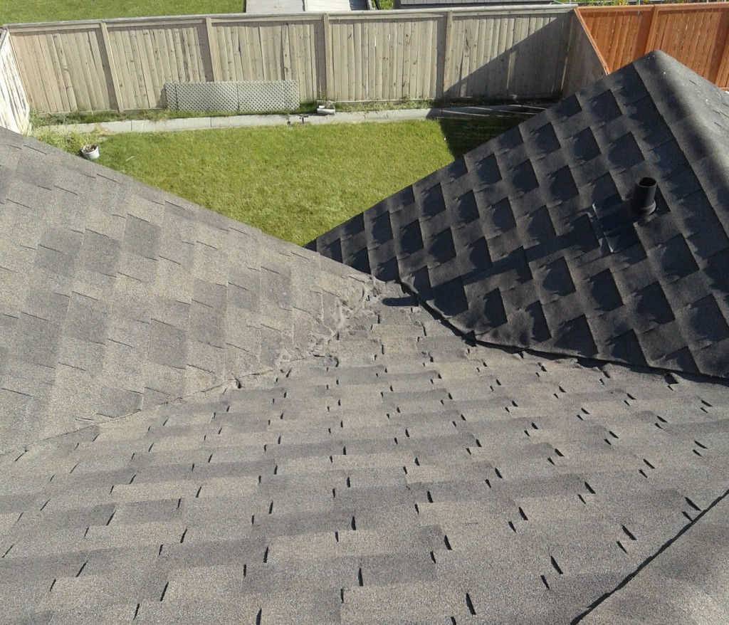 field shingles deteriorating in closed valley application